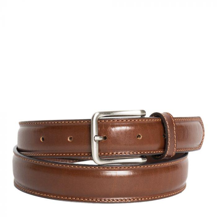 Cintura Uomo in Pelle di Vitello Spazzolato Marrone 3,5cm - Made in Italy