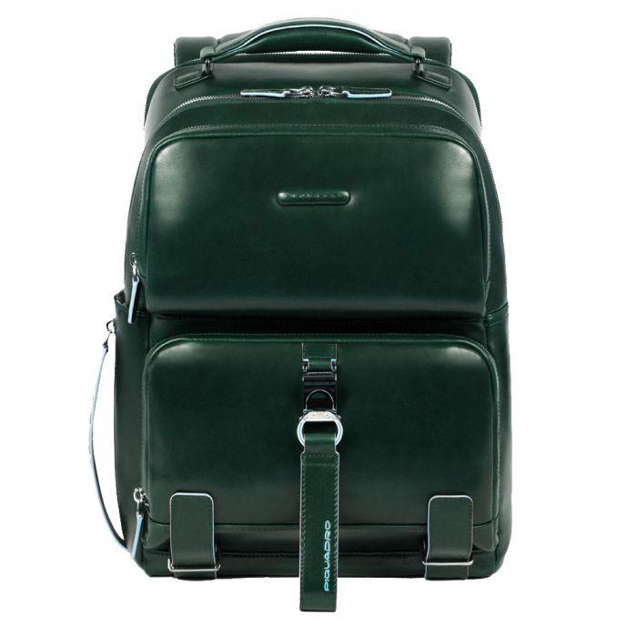 """Zaino Fast-Check Porta Pc 14"""" - PIQUADRO linea Blue Square in Pelle Verde CA4894B2"""