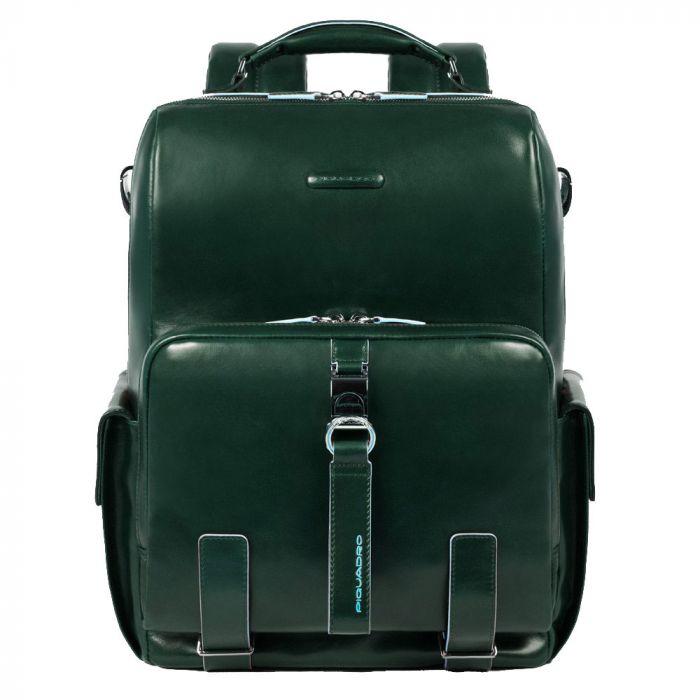 """Zaino Porta Pc 14"""" con Tracolla - PIQUADRO linea Blue Square in Pelle Verde CA4898B2"""