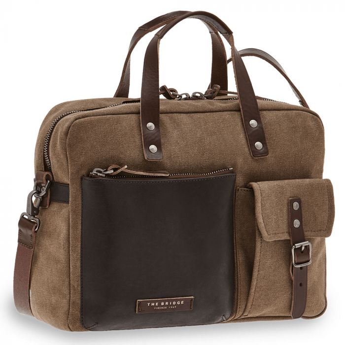 Cartella Due Manici THE BRIDGE in Pelle Marrone e Tessuto Khaki linea Carver-D Made in Italy