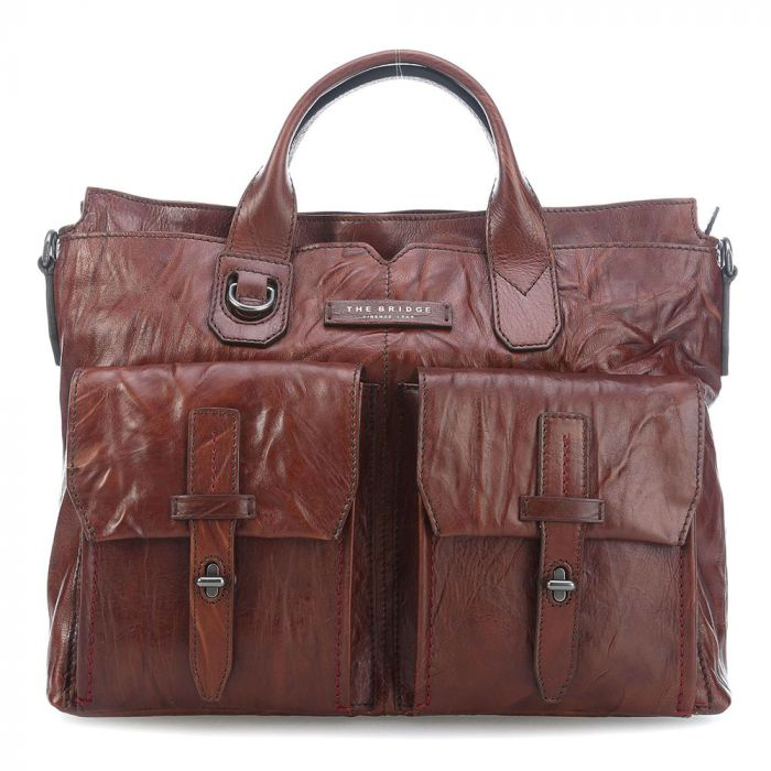 Cartella due Manici con Porta Pc THE BRIDGE in Pelle Marrone  Gulliver Made in Italy