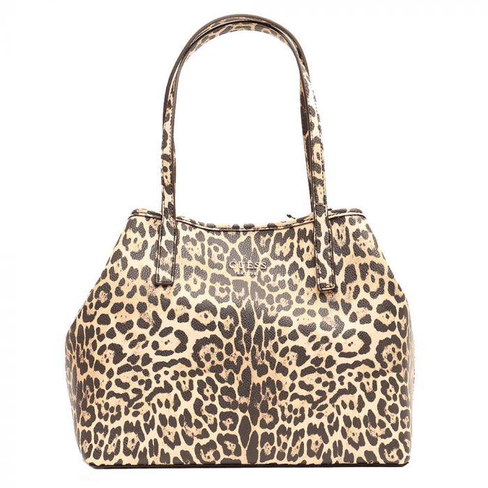 Borsa Shopper a Spalla Donna GUESS Modello Vikky Tote Leopard